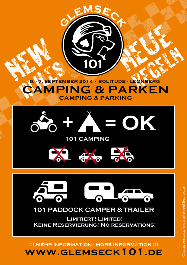 Glemseck 101 - 2014 - Campen - Parken - Camping - Parking - Neue Regeln - New Rules - Announcement